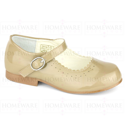 Girls Spanish Style Camel Patent Mary Jane Shoe