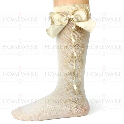 Girls Spanish Style Camel Knee High Slotted Bow Socks