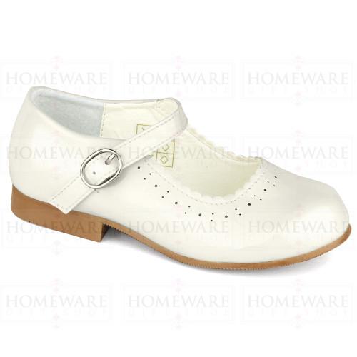 Girls Spanish Style CreamPatent Mary Jane Shoe