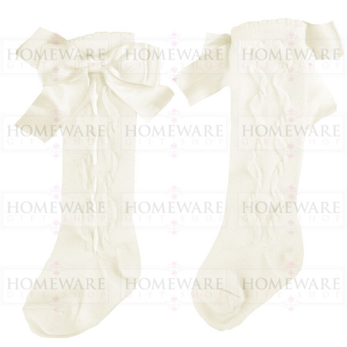 Girls Spanish Style Ivory Knee High Slotted Bow Socks