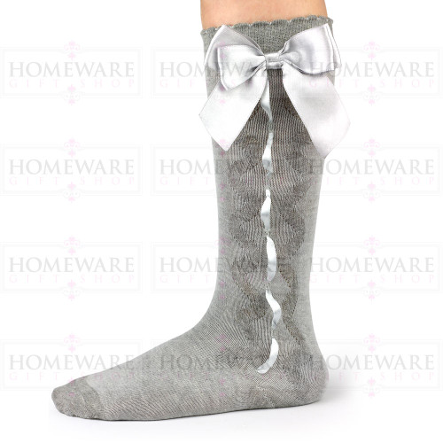 Girls Spanish Style Grey Knee High Slotted Bow Socks