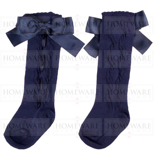 Girls Spanish Style Navy Knee High Slotted Bow Socks