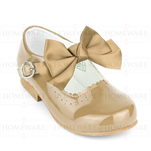 Girls Spanish Mary Jane Patent Bow Shoes Camel
