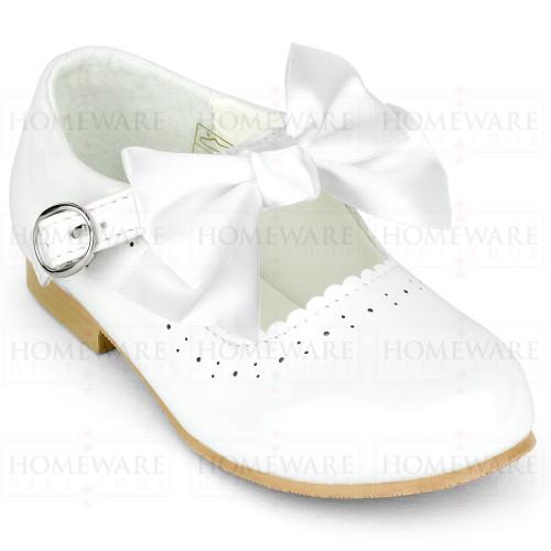 Girls Spanish Mary Jane Patent Bow Shoes White