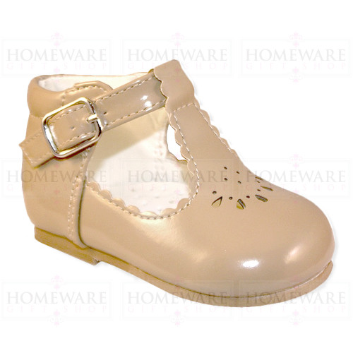 Baby Girls Spanish Tbar Shoe Camel Patent