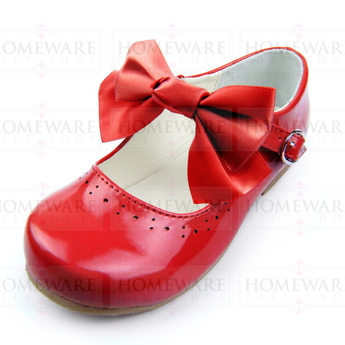 Girls Spanish Style Red Patent Mary Jane Shoes With Pretty Removable Bow