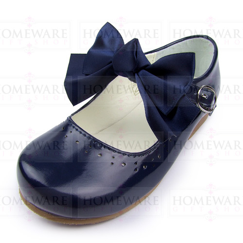 Girls Spanish Style Navy Patent Mary Jane Shoes With Pretty Removable Bow