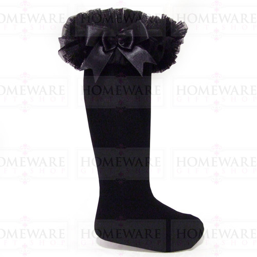 Girls Babies Black tutu socks Spanish knee high satin bow socks tulle frilly kids