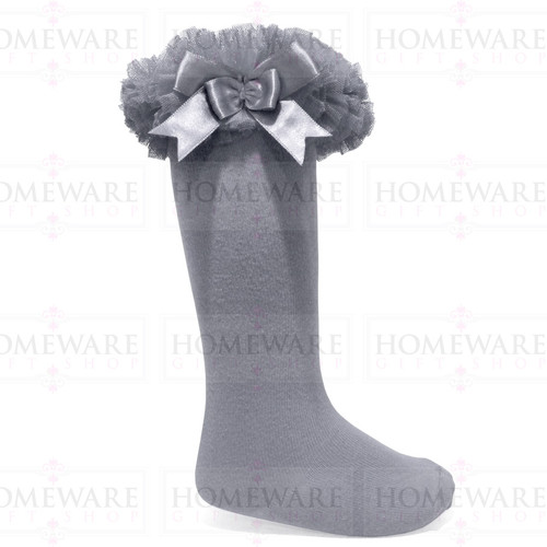 Girls Babies Grey tutu socks Spanish knee high satin bow socks tulle frilly kids