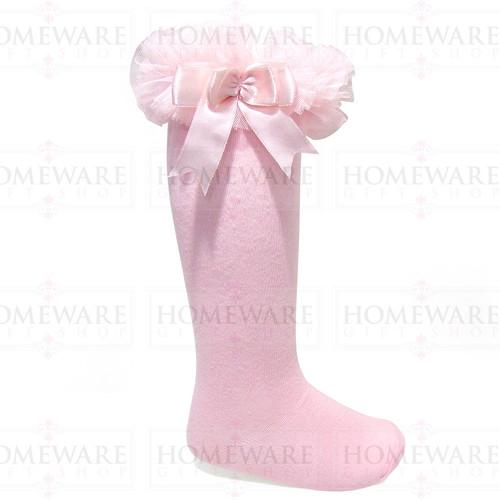 Girls Babies Pink tutu socks Spanish knee high satin bow socks tulle frilly kids
