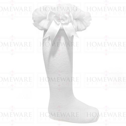 Girls Babies White tutu socks Spanish knee high satin bow socks tulle frilly kids