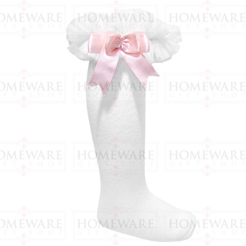 Girls Babies White & Pink tutu socks Spanish knee high satin bow socks tulle frilly kids