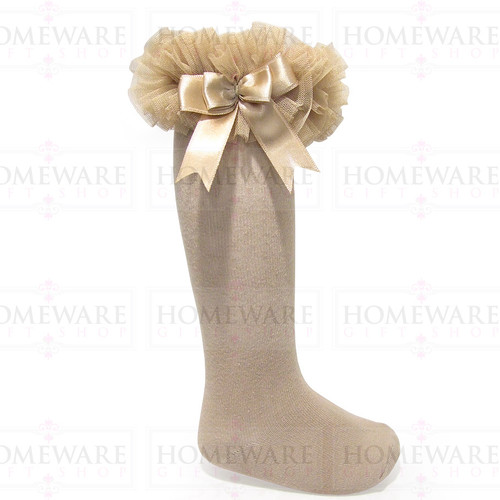 Girls Babies Camel tutu socks Spanish knee high satin bow socks tulle frilly kids