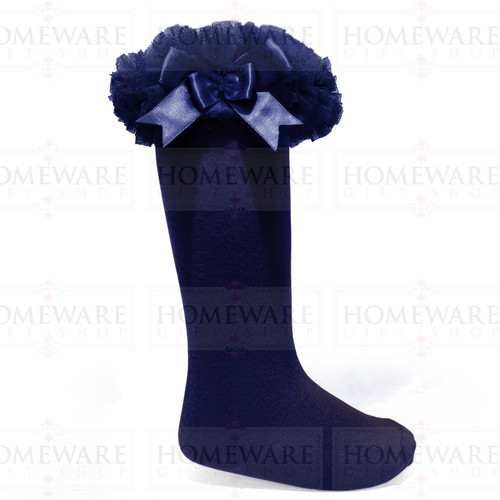 Girls Babies Navy tutu socks Spanish knee high satin bow socks tulle frilly kids