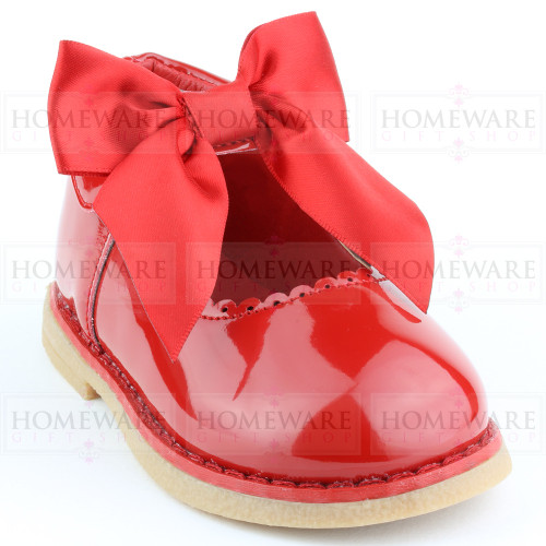 Baby Girls Spanish Style Red Bow Shoes
