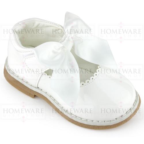 Baby Girls Spanish Style White Bow Shoes