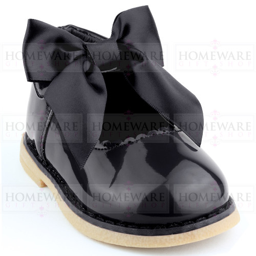 Baby Girls Spanish Style Black Bow Shoes Mary Jane Patent Shoes