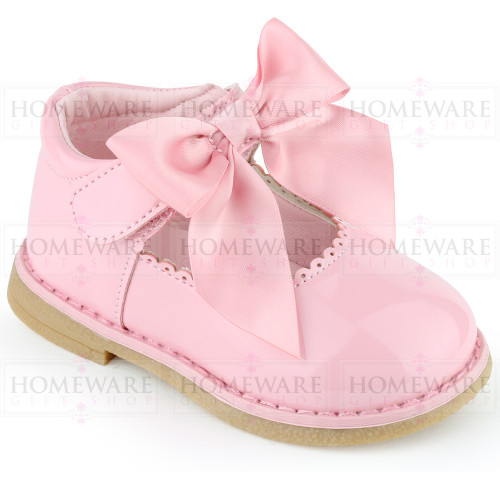 Baby Girls Spanish Style Pink Bow Shoes Mary Jane Patent Shoes