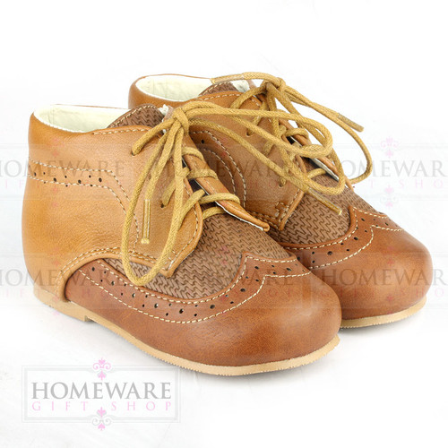 Baby Boys Spanish Boots Shoes Lace up Tan