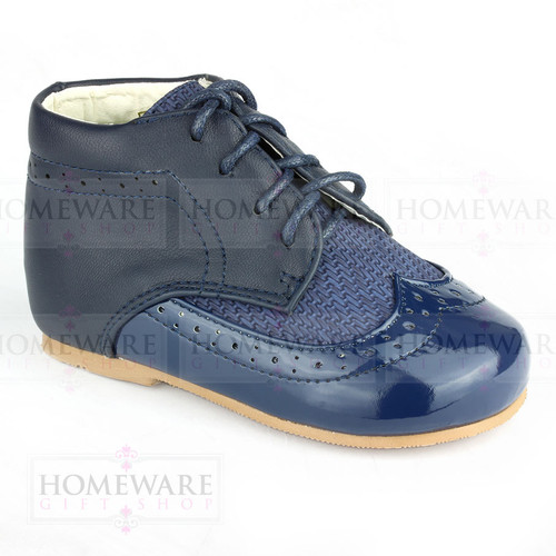 Baby Boys Spanish Boots Shoes Lace up Navy