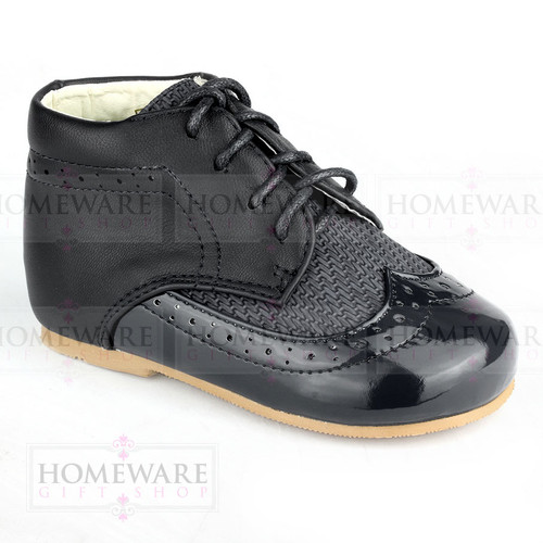 Baby Boys Spanish Boots Shoes Lace up Black