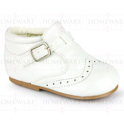 BABY BOYS SPANISH STYLE BOOTS PATENT SHOES BROGUE WHITE