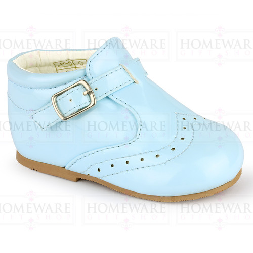 BABY BOYS SPANISH STYLE BOOTS PATENT SHOES BROGUE BABY BLUE