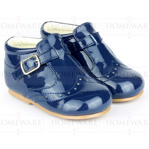 BABY BOYS SPANISH STYLE BOOTS PATENT SHOES BROGUE NAVY