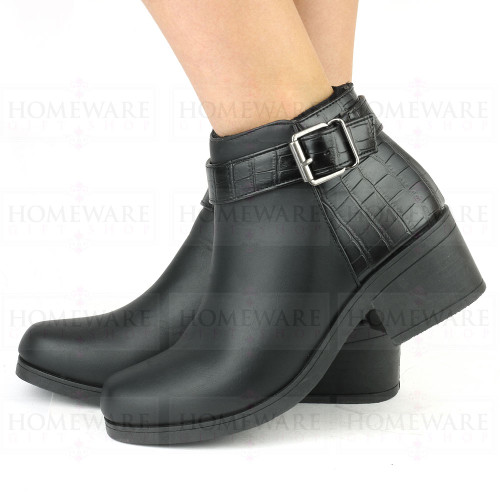 Ladies Black Chelsea Boots with an Elegant Block Heel & Faux Snake Skin Back.