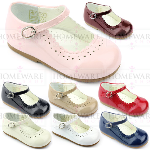 Girls Babies Shiny Patent Mary Jane Shoes