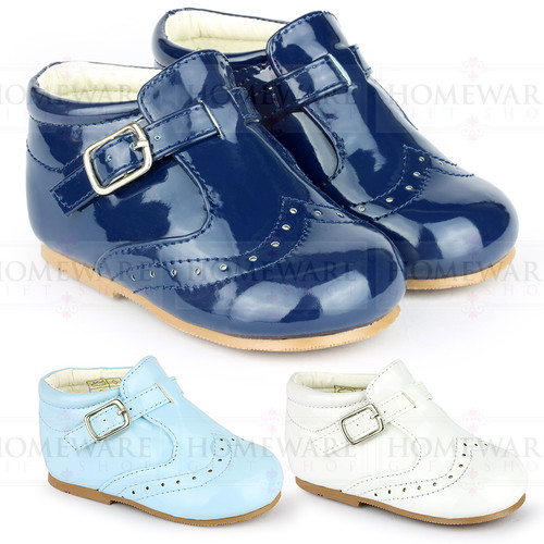 BABY BOYS SPANISH STYLE BOOTS SHINY PATENT SHOES BROGUES