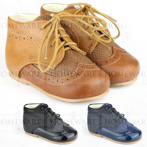 Baby Boys Spanish Boots Shoes Lace up Tan Navy Black