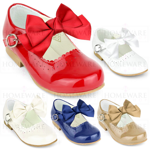 Girls Spanish Mary Jane Patent Bow Shoes