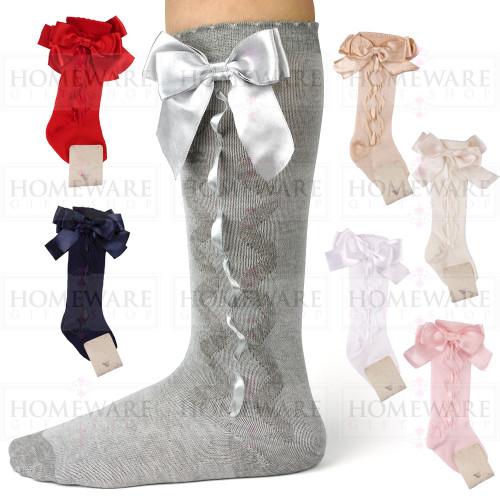 Girls Spanish Style Knee High Slotted Bow Socks