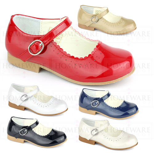 Girls Spanish Shoes Mary Jane Patent Red White Navy Blue Camel Cream.