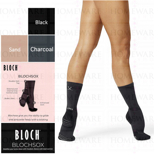 BLOCHSOX DANCE SOCKS BLACK SAND CHARCOAL BALLET MODERN JAZZ