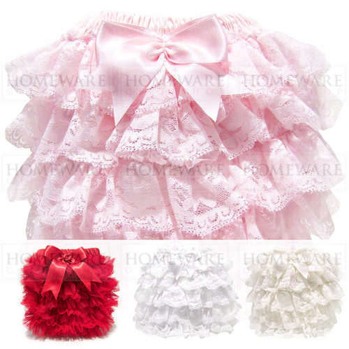 BABY GIRLS SPANISH STYLE FRILLY KNICKERS LACE PINK IVORY WHITE
