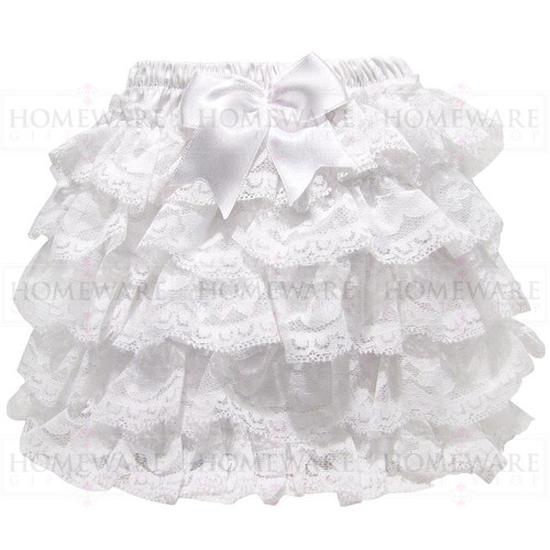 GIRLS BABY WHITE FRILLY KNICKERS NAPPY COVER LACE