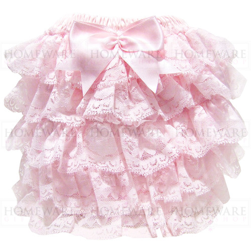 baby girls frilly lace knickers nappy cover pink