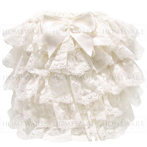 baby girl spanish style ivory frilly knickers lace nappy cover