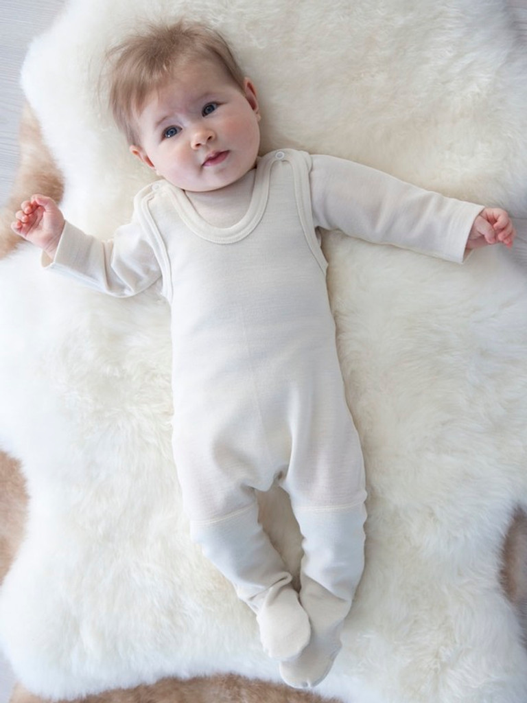 organic merino wool footed romper