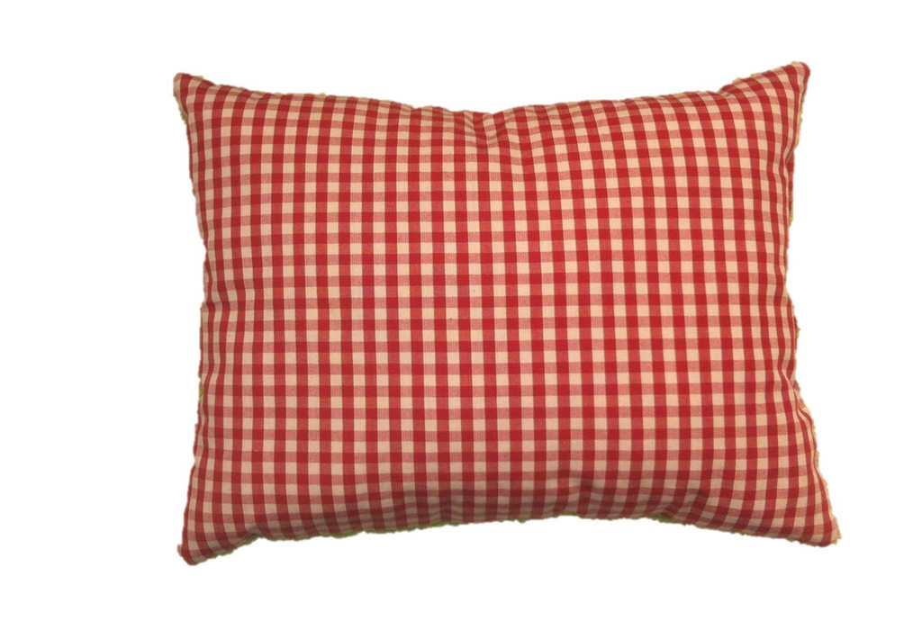 Organic cotton pillow red gingham backing, made in Germany.