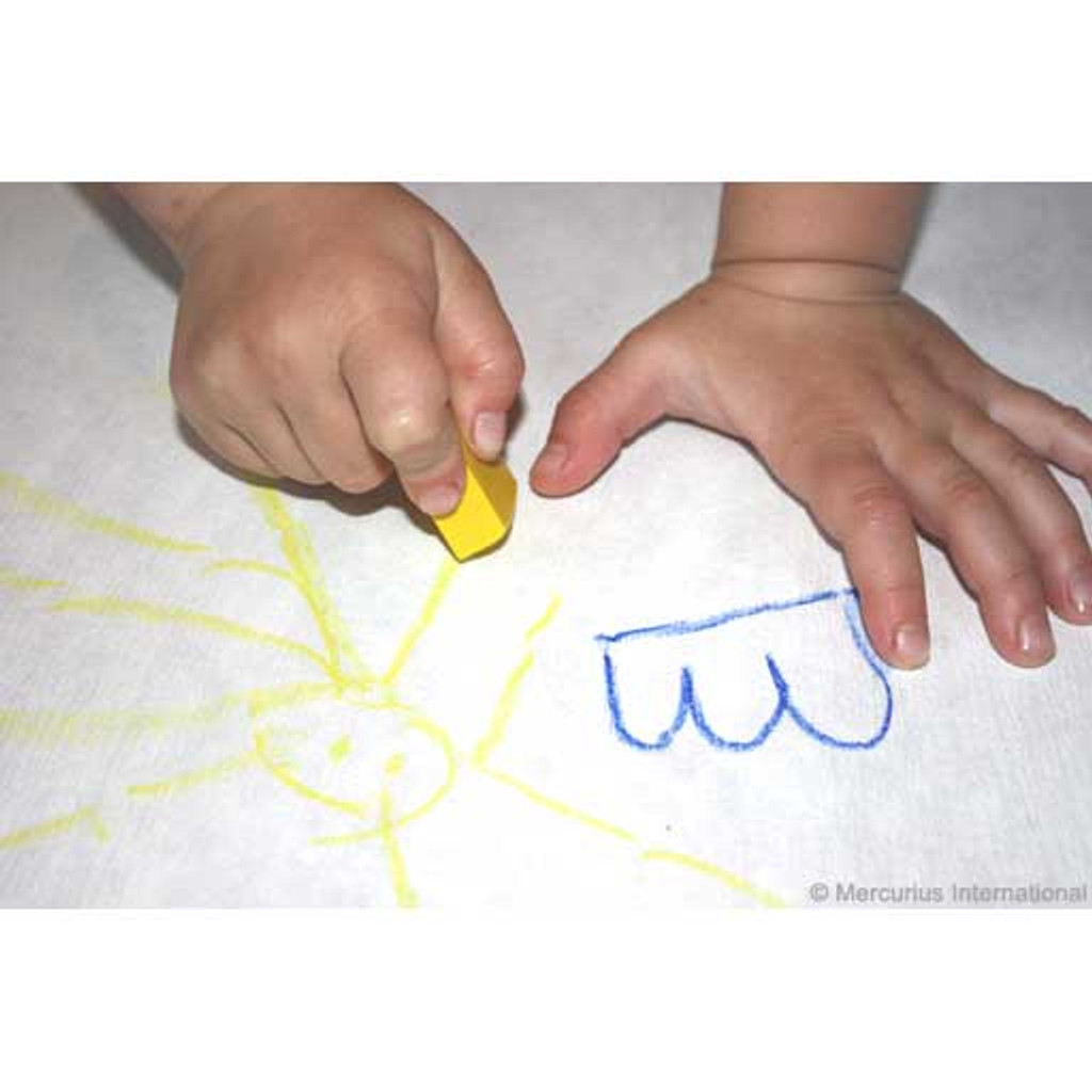 Stockmar wax block beeswax crayons, drawing with yellow