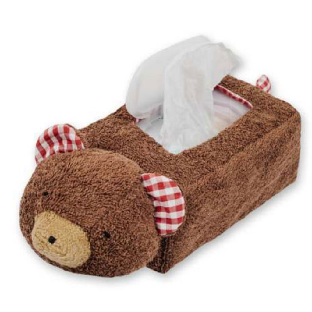 organic cotton and wool bear tissue box