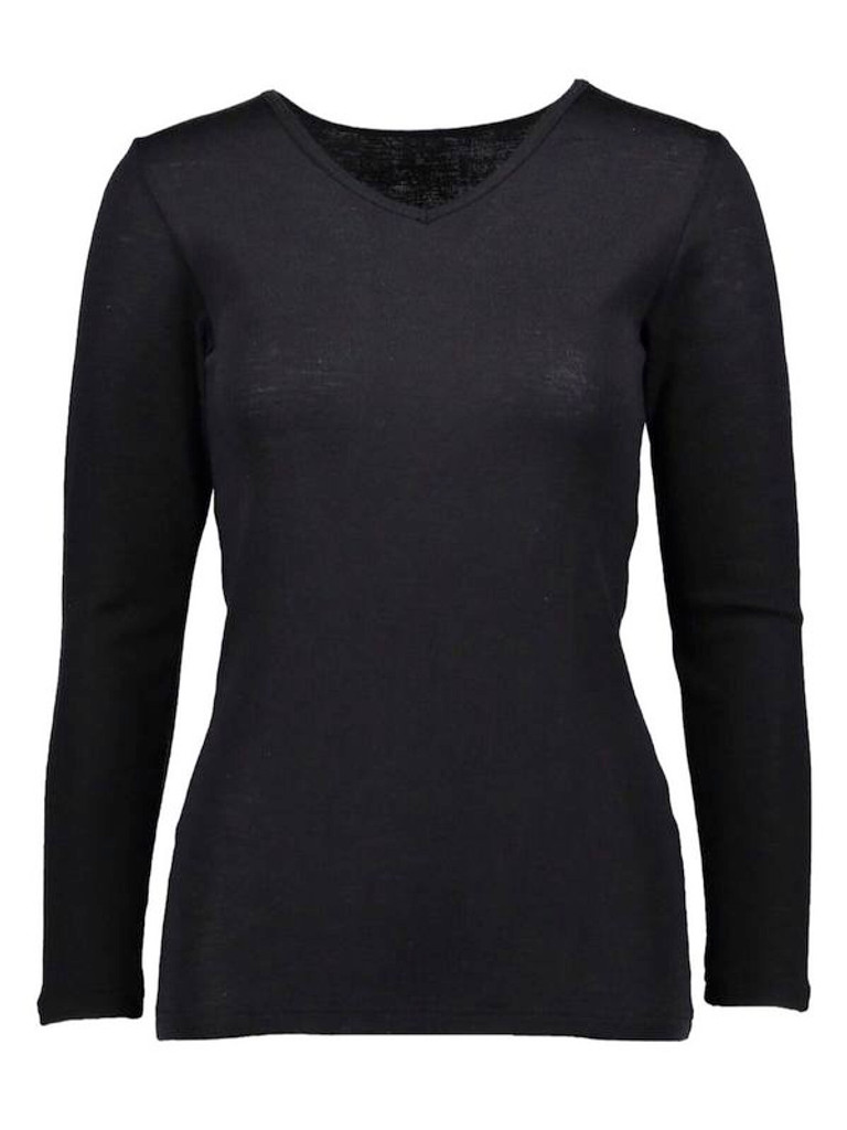 women's silkwool long-sleeved V-neck