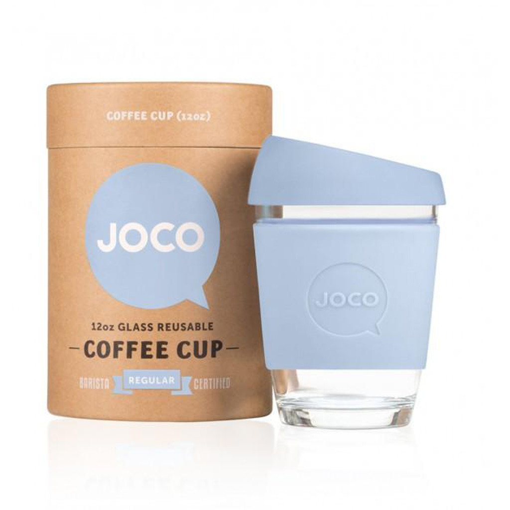 Joco, vintage blue, 12 oz.  Glass reusable cup with silicone lid.