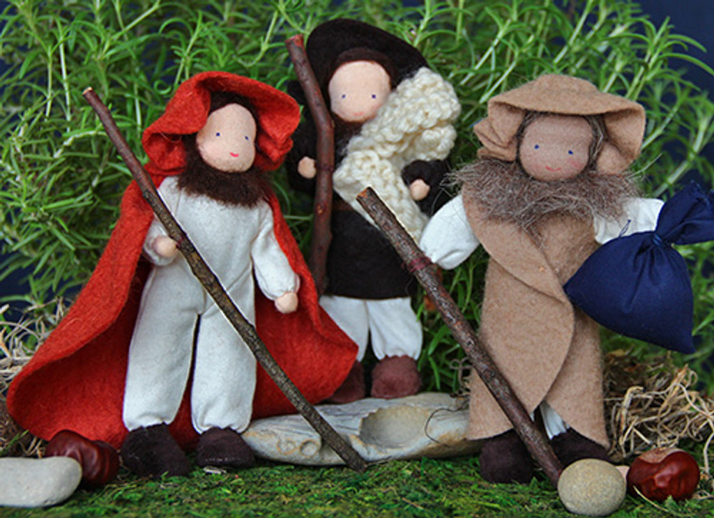 wool cotton shepherds, 3 doll set