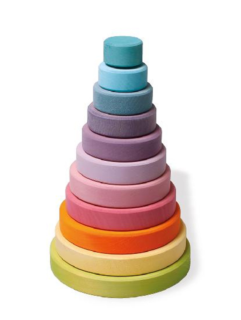 pastel rainbow stacking tower
