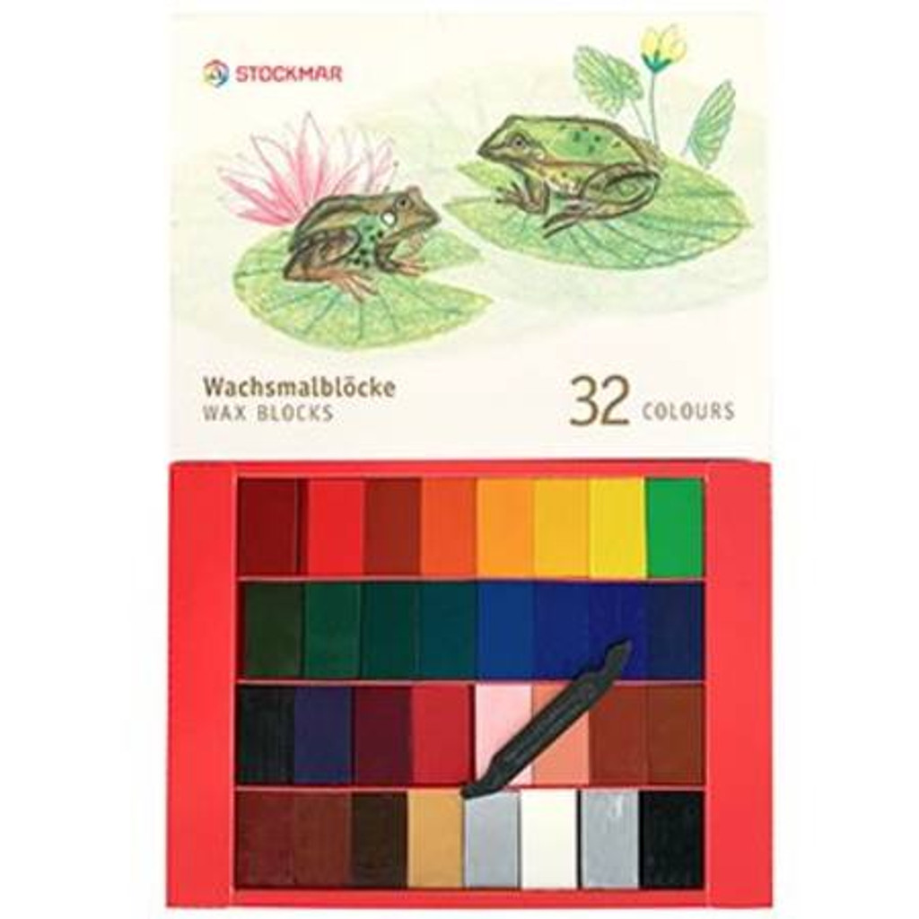 Stockmar wax block crayons 32 colours in a gift box