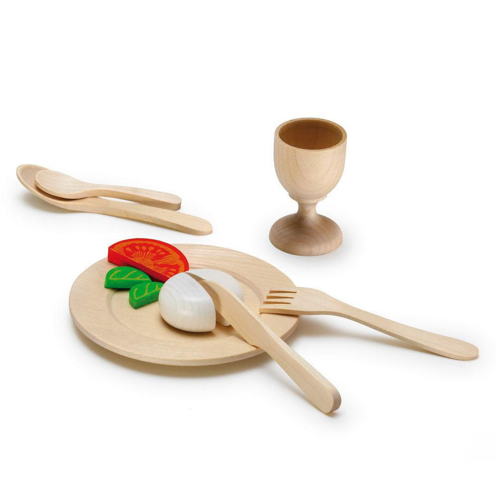 wooden toy play cutlery set